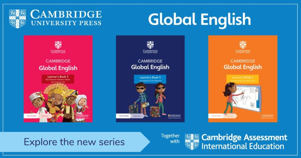 Image of Cambridge University Press Global English series with cover images of three books in the series